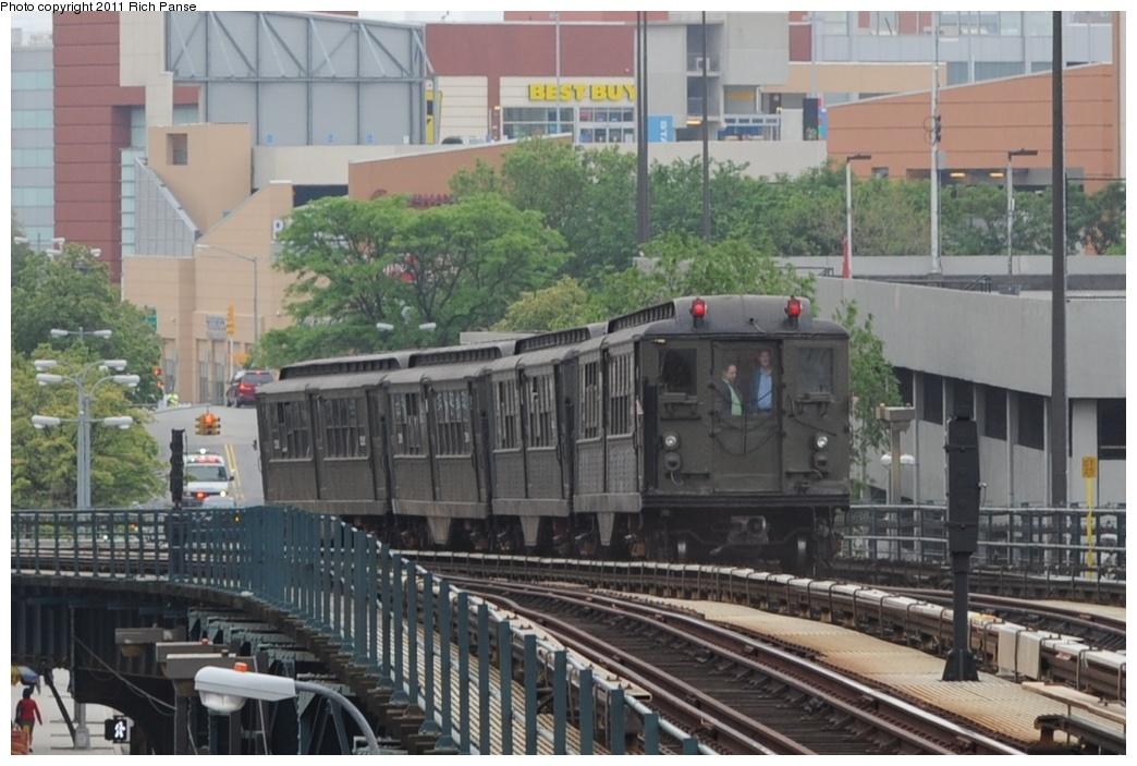 (253k, 1044x703)<br><b>Country:</b> United States<br><b>City:</b> New York<br><b>System:</b> New York City Transit<br><b>Line:</b> IRT Woodlawn Line<br><b>Location:</b> 161st Street/River Avenue (Yankee Stadium) <br><b>Route:</b> Transit Museum Nostalgia Train<br><b>Car:</b> Low-V (Museum Train) 5443 <br><b>Photo by:</b> Richard Panse<br><b>Date:</b> 5/22/2011<br><b>Viewed (this week/total):</b> 0 / 789