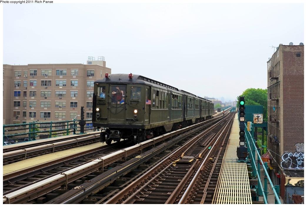 (267k, 1044x703)<br><b>Country:</b> United States<br><b>City:</b> New York<br><b>System:</b> New York City Transit<br><b>Line:</b> IRT Woodlawn Line<br><b>Location:</b> 167th Street <br><b>Route:</b> Transit Museum Nostalgia Train<br><b>Car:</b> Low-V (Museum Train) 5443 <br><b>Photo by:</b> Richard Panse<br><b>Date:</b> 5/22/2011<br><b>Viewed (this week/total):</b> 1 / 953