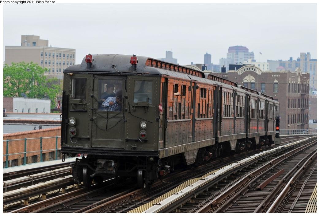 (265k, 1044x703)<br><b>Country:</b> United States<br><b>City:</b> New York<br><b>System:</b> New York City Transit<br><b>Line:</b> IRT Woodlawn Line<br><b>Location:</b> 183rd Street <br><b>Route:</b> Transit Museum Nostalgia Train<br><b>Car:</b> Low-V (Museum Train) 5443 <br><b>Photo by:</b> Richard Panse<br><b>Date:</b> 5/22/2011<br><b>Viewed (this week/total):</b> 9 / 963