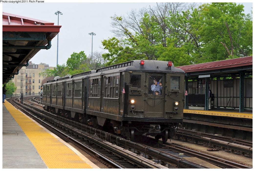 (334k, 1044x703)<br><b>Country:</b> United States<br><b>City:</b> New York<br><b>System:</b> New York City Transit<br><b>Line:</b> IRT Woodlawn Line<br><b>Location:</b> Bedford Park Boulevard <br><b>Route:</b> Transit Museum Nostalgia Train<br><b>Car:</b> Low-V (Museum Train) 5443 <br><b>Photo by:</b> Richard Panse<br><b>Date:</b> 5/22/2011<br><b>Viewed (this week/total):</b> 0 / 1074