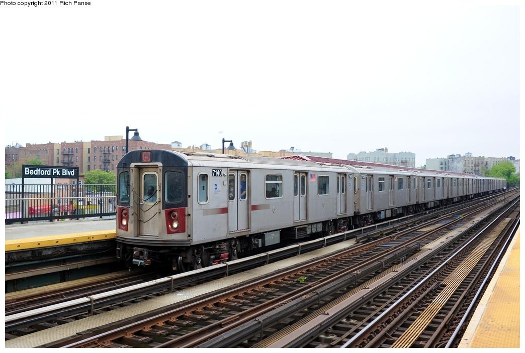 (234k, 1044x703)<br><b>Country:</b> United States<br><b>City:</b> New York<br><b>System:</b> New York City Transit<br><b>Line:</b> IRT Woodlawn Line<br><b>Location:</b> Bedford Park Boulevard <br><b>Route:</b> 4<br><b>Car:</b> R-142 (Option Order, Bombardier, 2002-2003)  7140 <br><b>Photo by:</b> Richard Panse<br><b>Date:</b> 5/22/2011<br><b>Viewed (this week/total):</b> 2 / 906