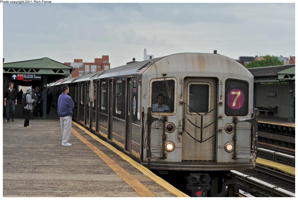 (251k, 1044x702)<br><b>Country:</b> United States<br><b>City:</b> New York<br><b>System:</b> New York City Transit<br><b>Line:</b> IRT Flushing Line<br><b>Location:</b> 69th Street/Fisk Avenue <br><b>Route:</b> 7<br><b>Car:</b> R-62A (Bombardier, 1984-1987)  1791 <br><b>Photo by:</b> Richard Panse<br><b>Date:</b> 5/22/2011<br><b>Viewed (this week/total):</b> 2 / 990