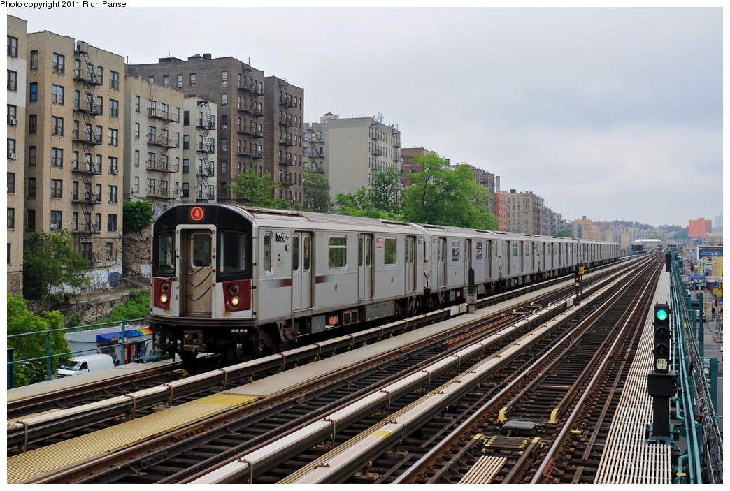 (313k, 1044x703)<br><b>Country:</b> United States<br><b>City:</b> New York<br><b>System:</b> New York City Transit<br><b>Line:</b> IRT Woodlawn Line<br><b>Location:</b> Mt. Eden Avenue <br><b>Route:</b> 4<br><b>Car:</b> R-142A (Option Order, Kawasaki, 2002-2003)  7721 <br><b>Photo by:</b> Richard Panse<br><b>Date:</b> 5/22/2011<br><b>Viewed (this week/total):</b> 1 / 907