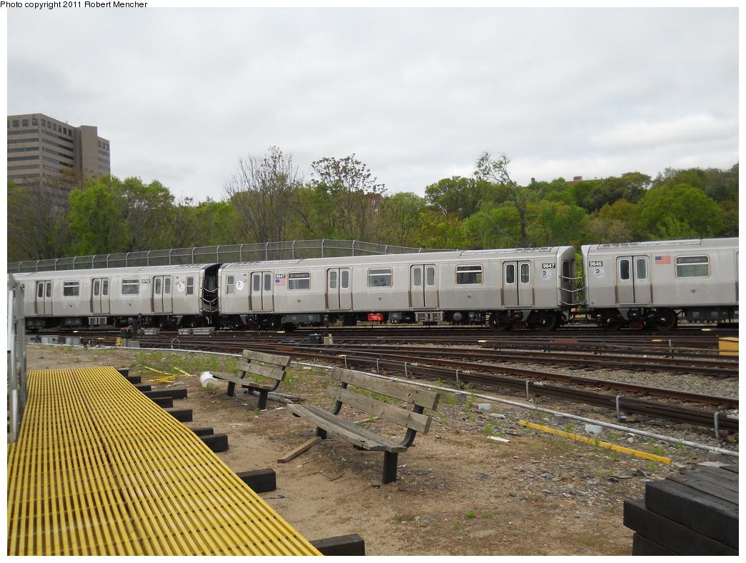 (412k, 1044x788)<br><b>Country:</b> United States<br><b>City:</b> New York<br><b>System:</b> New York City Transit<br><b>Location:</b> Jamaica Yard/Shops<br><b>Car:</b> R-160A (Option 2) (Alstom, 2009, 5-car sets)  9647 <br><b>Photo by:</b> Robert Mencher<br><b>Date:</b> 5/11/2011<br><b>Viewed (this week/total):</b> 0 / 1039