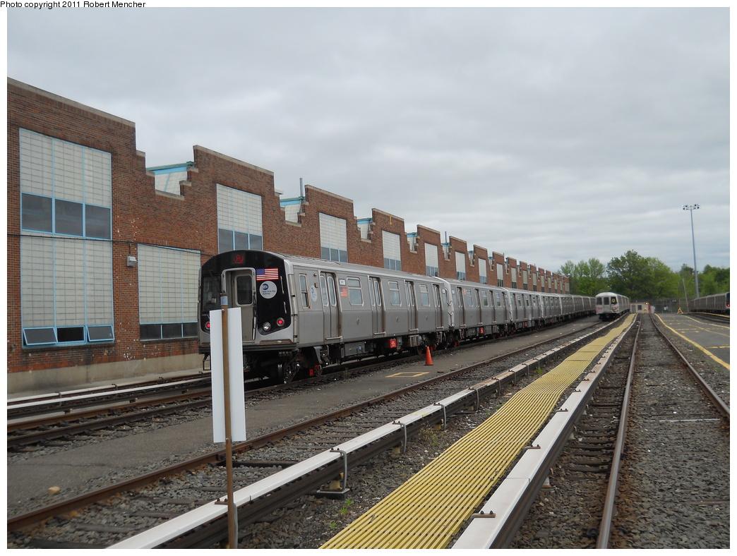 (381k, 1044x788)<br><b>Country:</b> United States<br><b>City:</b> New York<br><b>System:</b> New York City Transit<br><b>Location:</b> Jamaica Yard/Shops<br><b>Car:</b> R-160A (Option 1) (Alstom, 2008-2009, 5 car sets)  9338 <br><b>Photo by:</b> Robert Mencher<br><b>Date:</b> 5/11/2011<br><b>Viewed (this week/total):</b> 1 / 837