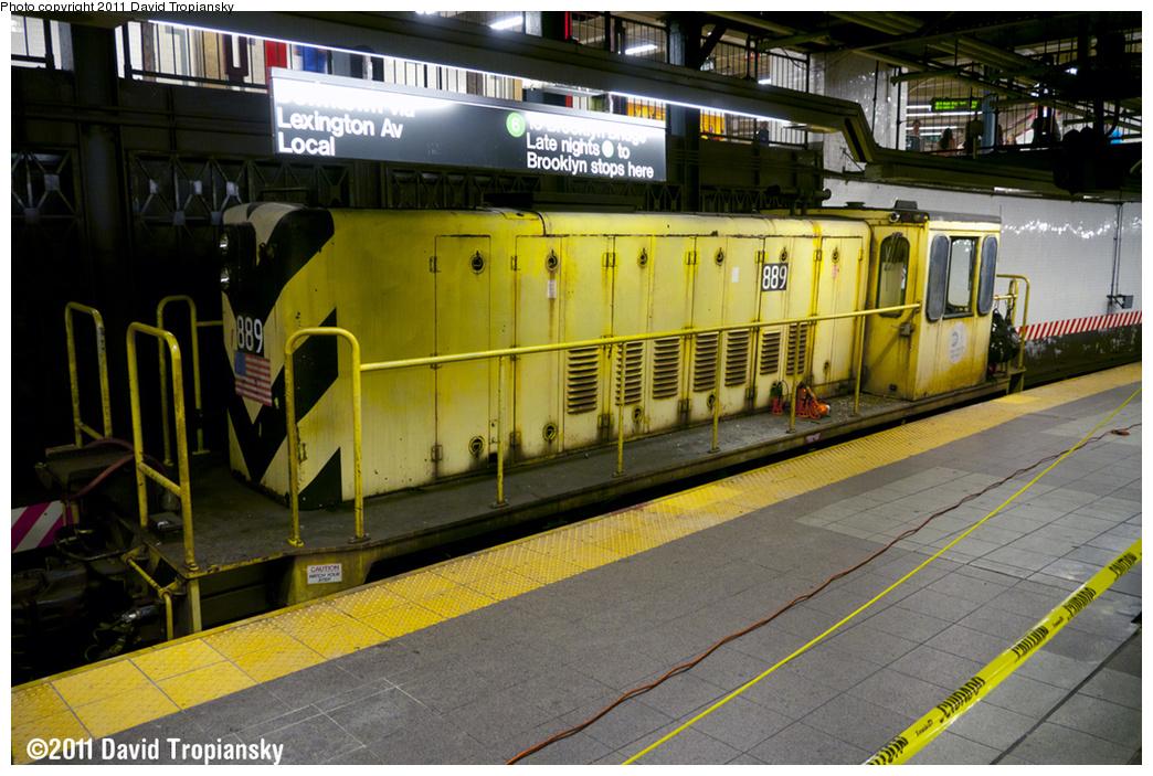 (409k, 1044x703)<br><b>Country:</b> United States<br><b>City:</b> New York<br><b>System:</b> New York City Transit<br><b>Line:</b> IRT East Side Line<br><b>Location:</b> 14th Street/Union Square <br><b>Route:</b> Work Service<br><b>Car:</b> R-77 Locomotive  889 <br><b>Photo by:</b> David Tropiansky<br><b>Date:</b> 5/21/2011<br><b>Viewed (this week/total):</b> 0 / 1416