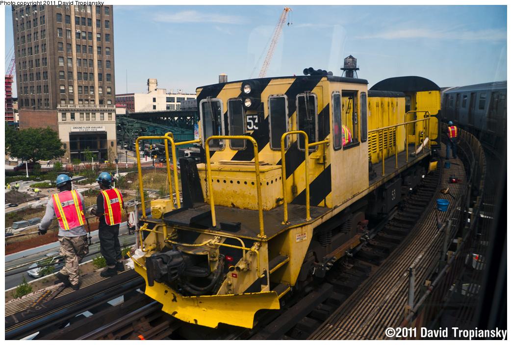 (415k, 1044x703)<br><b>Country:</b> United States<br><b>City:</b> New York<br><b>System:</b> New York City Transit<br><b>Line:</b> BMT Astoria Line<br><b>Location:</b> Queensborough Plaza <br><b>Route:</b> N<br><b>Car:</b> R-37 Locomotive  53 <br><b>Photo by:</b> David Tropiansky<br><b>Date:</b> 6/4/2011<br><b>Viewed (this week/total):</b> 0 / 1190