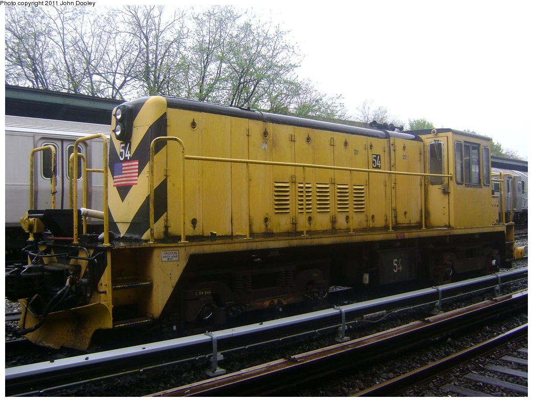 (325k, 1044x788)<br><b>Country:</b> United States<br><b>City:</b> New York<br><b>System:</b> New York City Transit<br><b>Line:</b> BMT Sea Beach Line<br><b>Location:</b> 8th Avenue <br><b>Route:</b> Work Service<br><b>Car:</b> R-41 Locomotive  54 <br><b>Photo by:</b> John Dooley<br><b>Date:</b> 5/4/2011<br><b>Viewed (this week/total):</b> 0 / 731