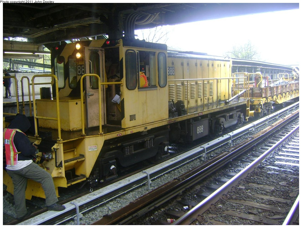 (352k, 1044x788)<br><b>Country:</b> United States<br><b>City:</b> New York<br><b>System:</b> New York City Transit<br><b>Line:</b> BMT Sea Beach Line<br><b>Location:</b> 8th Avenue <br><b>Route:</b> Work Service<br><b>Car:</b> R-77 Locomotive  888 <br><b>Photo by:</b> John Dooley<br><b>Date:</b> 5/4/2011<br><b>Viewed (this week/total):</b> 1 / 829