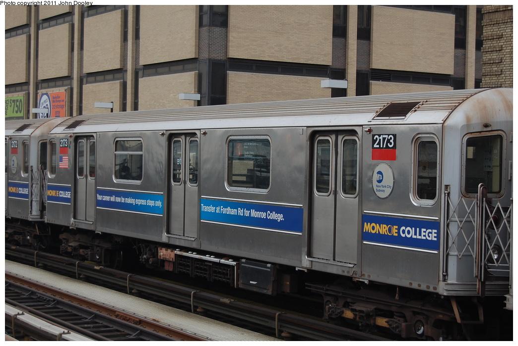 (339k, 1044x699)<br><b>Country:</b> United States<br><b>City:</b> New York<br><b>System:</b> New York City Transit<br><b>Line:</b> IRT West Side Line<br><b>Location:</b> 215th Street <br><b>Route:</b> 1<br><b>Car:</b> R-62A (Bombardier, 1984-1987)  2173 <br><b>Photo by:</b> John Dooley<br><b>Date:</b> 12/10/2010<br><b>Viewed (this week/total):</b> 1 / 1042