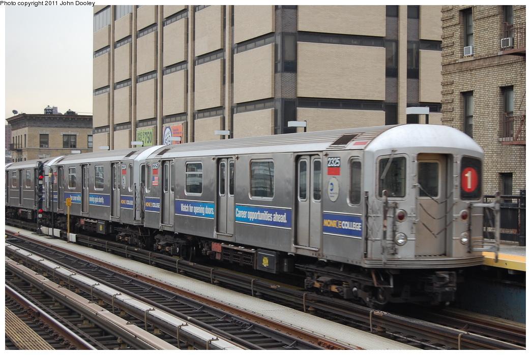 (365k, 1044x699)<br><b>Country:</b> United States<br><b>City:</b> New York<br><b>System:</b> New York City Transit<br><b>Line:</b> IRT West Side Line<br><b>Location:</b> 215th Street <br><b>Route:</b> 1<br><b>Car:</b> R-62A (Bombardier, 1984-1987)  2325 <br><b>Photo by:</b> John Dooley<br><b>Date:</b> 12/10/2010<br><b>Viewed (this week/total):</b> 2 / 834