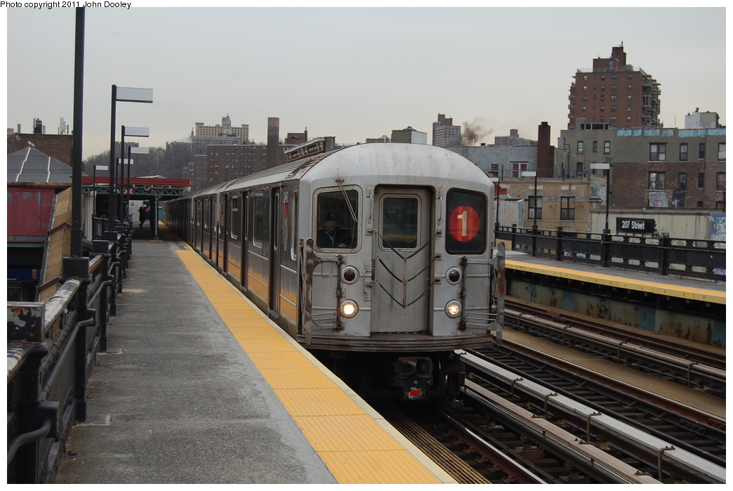 (323k, 1044x699)<br><b>Country:</b> United States<br><b>City:</b> New York<br><b>System:</b> New York City Transit<br><b>Line:</b> IRT West Side Line<br><b>Location:</b> 207th Street <br><b>Route:</b> 1<br><b>Car:</b> R-62A (Bombardier, 1984-1987)  2461 <br><b>Photo by:</b> John Dooley<br><b>Date:</b> 12/10/2010<br><b>Viewed (this week/total):</b> 4 / 1010