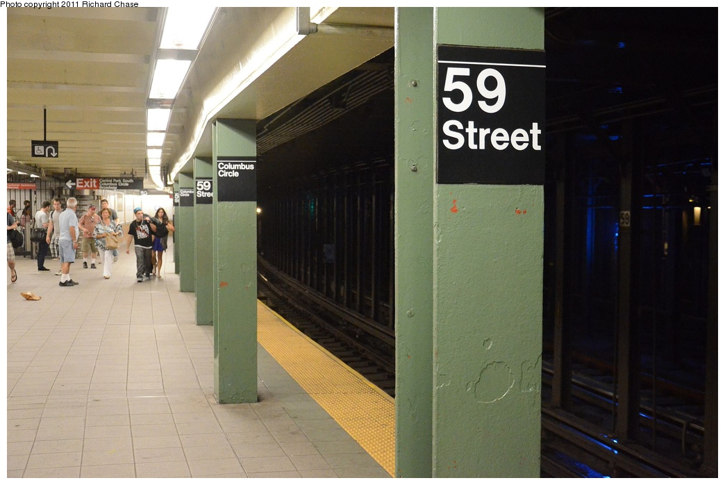 (228k, 1044x698)<br><b>Country:</b> United States<br><b>City:</b> New York<br><b>System:</b> New York City Transit<br><b>Line:</b> IRT West Side Line<br><b>Location:</b> 59th Street/Columbus Circle <br><b>Photo by:</b> Richard Chase<br><b>Date:</b> 5/25/2011<br><b>Notes:</b> Platform view.<br><b>Viewed (this week/total):</b> 1 / 1000