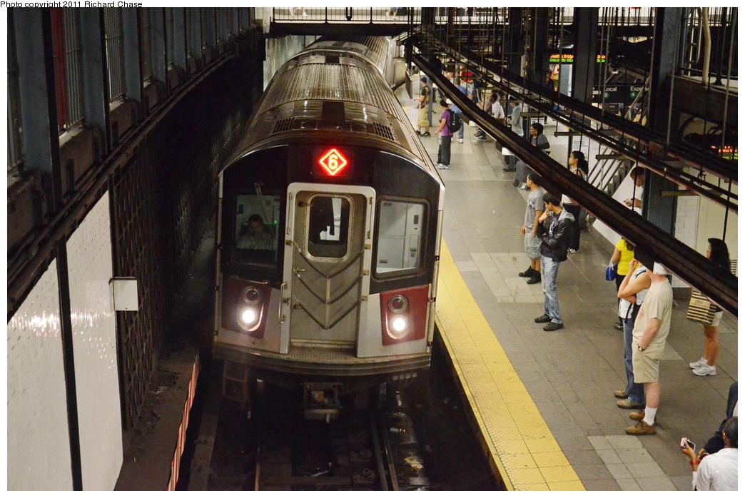 (387k, 1044x698)<br><b>Country:</b> United States<br><b>City:</b> New York<br><b>System:</b> New York City Transit<br><b>Line:</b> IRT East Side Line<br><b>Location:</b> 14th Street/Union Square <br><b>Route:</b> 6<br><b>Car:</b> R-142 or R-142A (Number Unknown)  <br><b>Photo by:</b> Richard Chase<br><b>Date:</b> 5/28/2011<br><b>Viewed (this week/total):</b> 2 / 1599