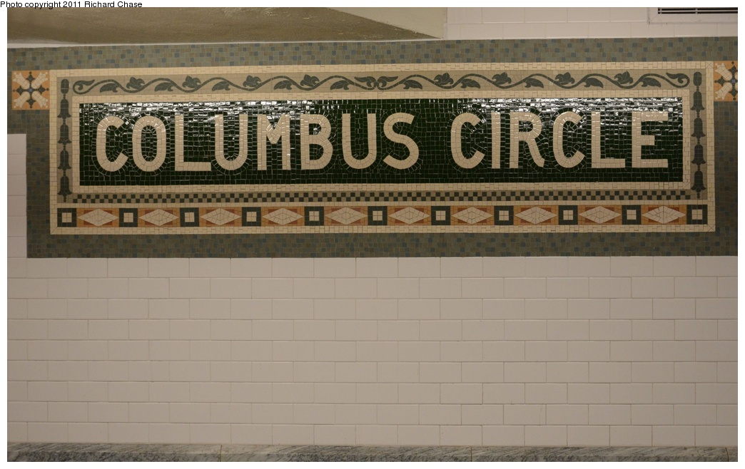 (227k, 1044x658)<br><b>Country:</b> United States<br><b>City:</b> New York<br><b>System:</b> New York City Transit<br><b>Line:</b> IRT West Side Line<br><b>Location:</b> 59th Street/Columbus Circle <br><b>Photo by:</b> Richard Chase<br><b>Date:</b> 5/25/2011<br><b>Notes:</b> Restored mosaic.<br><b>Viewed (this week/total):</b> 0 / 732