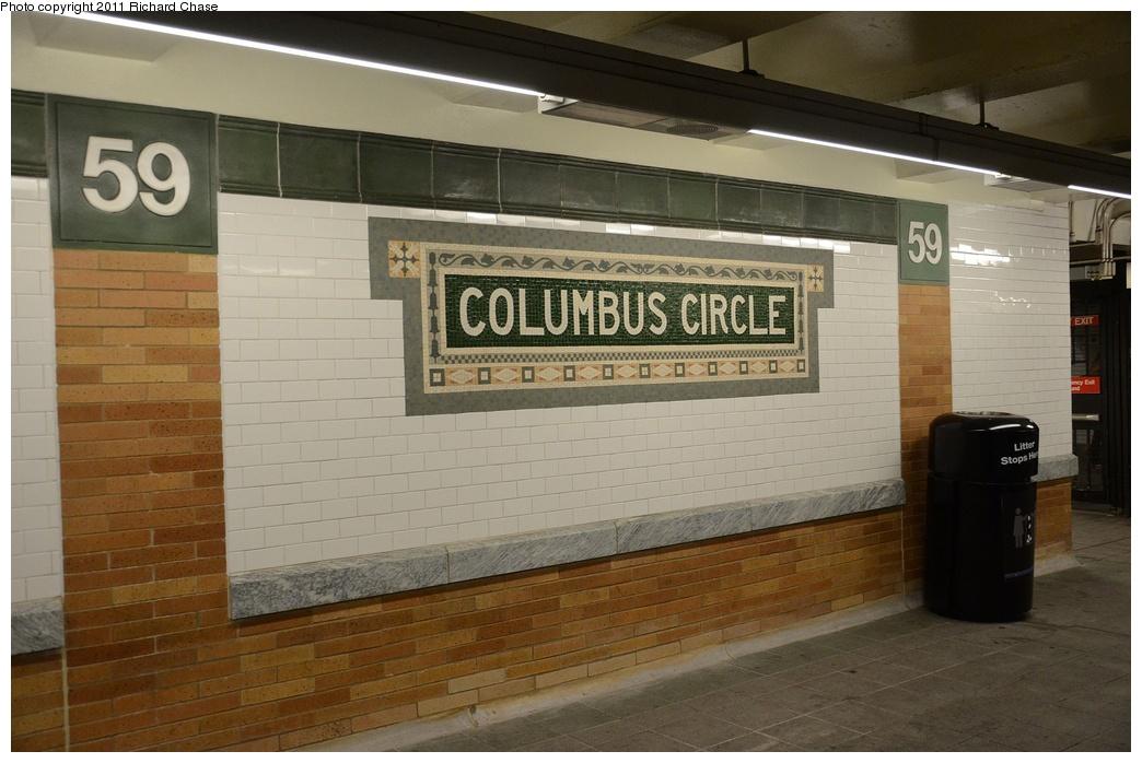 (241k, 1044x698)<br><b>Country:</b> United States<br><b>City:</b> New York<br><b>System:</b> New York City Transit<br><b>Line:</b> IRT West Side Line<br><b>Location:</b> 59th Street/Columbus Circle <br><b>Photo by:</b> Richard Chase<br><b>Date:</b> 5/25/2011<br><b>Notes:</b> Restored mosaic.<br><b>Viewed (this week/total):</b> 2 / 717