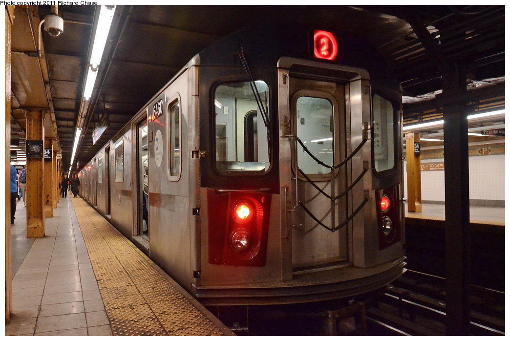 (367k, 1044x698)<br><b>Country:</b> United States<br><b>City:</b> New York<br><b>System:</b> New York City Transit<br><b>Line:</b> IRT West Side Line<br><b>Location:</b> 34th Street/Penn Station <br><b>Route:</b> 2<br><b>Car:</b> R-142 (Primary Order, Bombardier, 1999-2002)  6460 <br><b>Photo by:</b> Richard Chase<br><b>Date:</b> 5/23/2011<br><b>Viewed (this week/total):</b> 6 / 1689