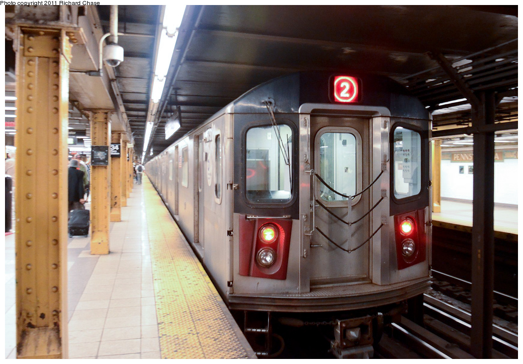 (358k, 1044x726)<br><b>Country:</b> United States<br><b>City:</b> New York<br><b>System:</b> New York City Transit<br><b>Line:</b> IRT West Side Line<br><b>Location:</b> 34th Street/Penn Station <br><b>Route:</b> 2<br><b>Car:</b> R-142 or R-142A (Number Unknown)  <br><b>Photo by:</b> Richard Chase<br><b>Date:</b> 5/23/2011<br><b>Viewed (this week/total):</b> 0 / 1373