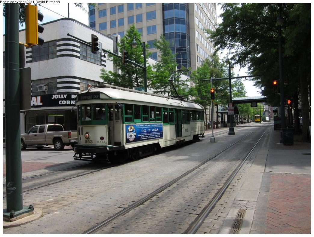 (407k, 1044x788)<br><b>Country:</b> United States<br><b>City:</b> Memphis, TN<br><b>System:</b> MATA <br><b>Line:</b> Main St. Line <br><b>Location:</b> Gayoso & Main <br><b>Car:</b> Melbourne W2 Class (1923-1931)  553 <br><b>Photo by:</b> David Pirmann<br><b>Date:</b> 6/2/2011<br><b>Viewed (this week/total):</b> 0 / 478