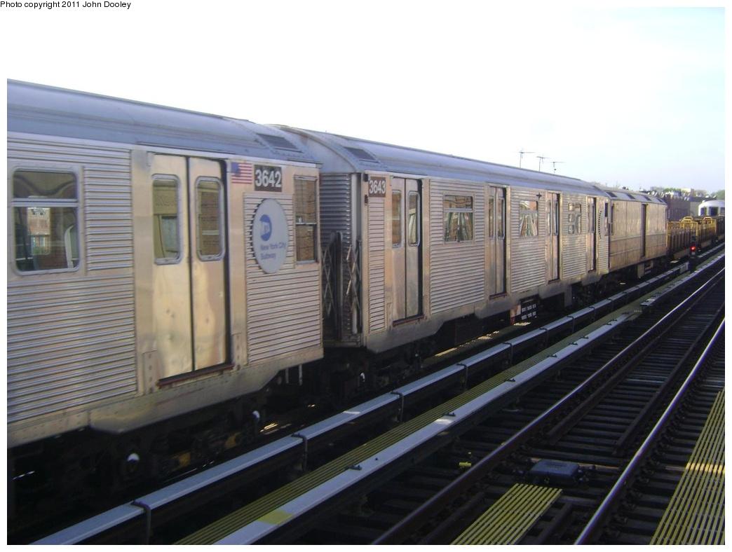 (248k, 1044x788)<br><b>Country:</b> United States<br><b>City:</b> New York<br><b>System:</b> New York City Transit<br><b>Line:</b> BMT West End Line<br><b>Location:</b> 55th Street <br><b>Route:</b> Work Service<br><b>Car:</b> R-32 (Budd, 1964)  3643 <br><b>Photo by:</b> John Dooley<br><b>Date:</b> 5/6/2011<br><b>Viewed (this week/total):</b> 0 / 852
