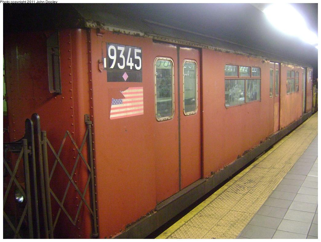 (310k, 1044x788)<br><b>Country:</b> United States<br><b>City:</b> New York<br><b>System:</b> New York City Transit<br><b>Line:</b> IND 8th Avenue Line<br><b>Location:</b> 42nd Street/Port Authority Bus Terminal <br><b>Route:</b> Work Service<br><b>Car:</b> R-33 World's Fair (St. Louis, 1963-64) 9345 <br><b>Photo by:</b> John Dooley<br><b>Date:</b> 3/19/2011<br><b>Viewed (this week/total):</b> 0 / 1349