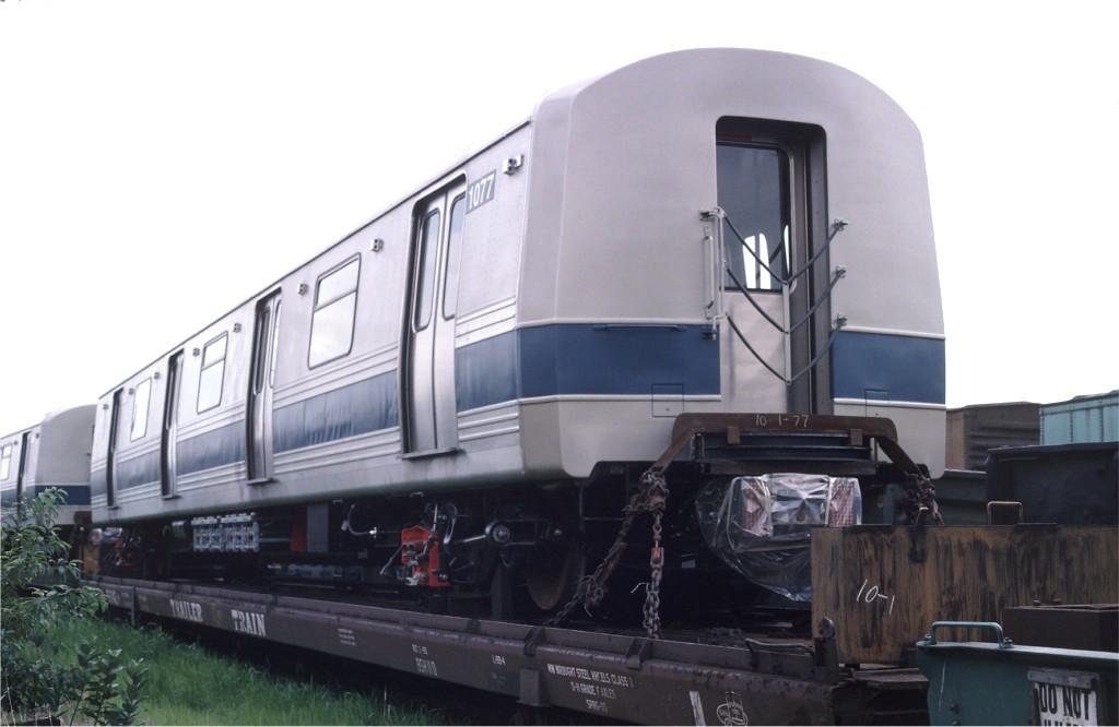 (113k, 1024x666)<br><b>Country:</b> United States<br><b>City:</b> Hoboken, NJ<br><b>System:</b> New York City Transit<br><b>Location:</b> Hoboken Yard <br><b>Car:</b> R-46 (Pullman-Standard, 1974-75) 1077 <br><b>Photo by:</b> Ed McKernan<br><b>Collection of:</b> Joe Testagrose<br><b>Date:</b> 7/10/1977<br><b>Viewed (this week/total):</b> 0 / 472