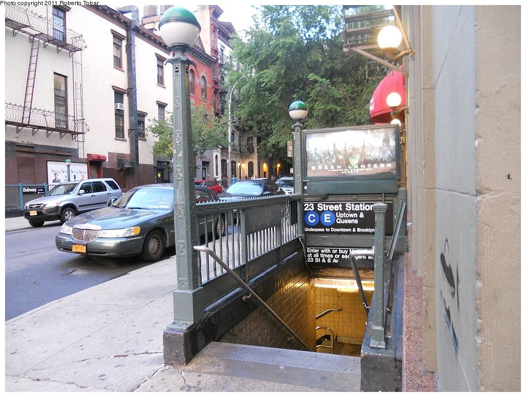 (408k, 1044x788)<br><b>Country:</b> United States<br><b>City:</b> New York<br><b>System:</b> New York City Transit<br><b>Line:</b> IND 8th Avenue Line<br><b>Location:</b> 23rd Street <br><b>Photo by:</b> Roberto C. Tobar<br><b>Date:</b> 6/17/2011<br><b>Notes:</b> Station entrance.<br><b>Viewed (this week/total):</b> 0 / 1213