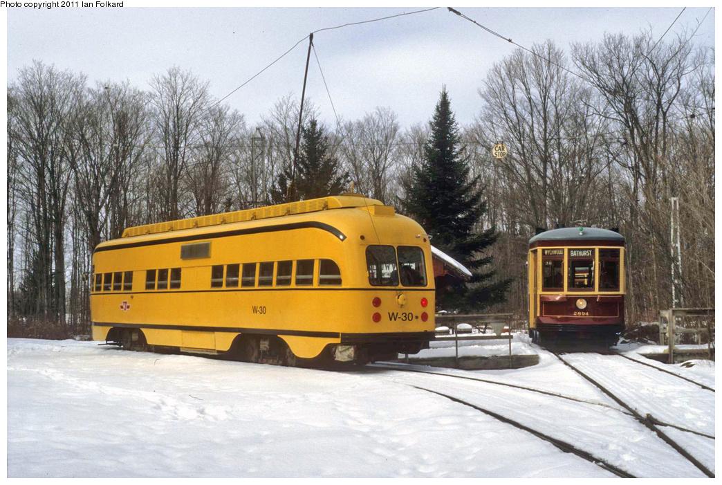 (387k, 1044x701)<br><b>Country:</b> Canada<br><b>City:</b> Toronto<br><b>System:</b> Halton County Radial Railway <br><b>Car:</b> PCC (TTC Toronto) W-30 w/2894 <br><b>Photo by:</b> Ian Folkard<br><b>Date:</b> 2/13/2010<br><b>Notes:</b> W-30 & 2894 at the East End loop, Winterfest.<br><b>Viewed (this week/total):</b> 1 / 1092