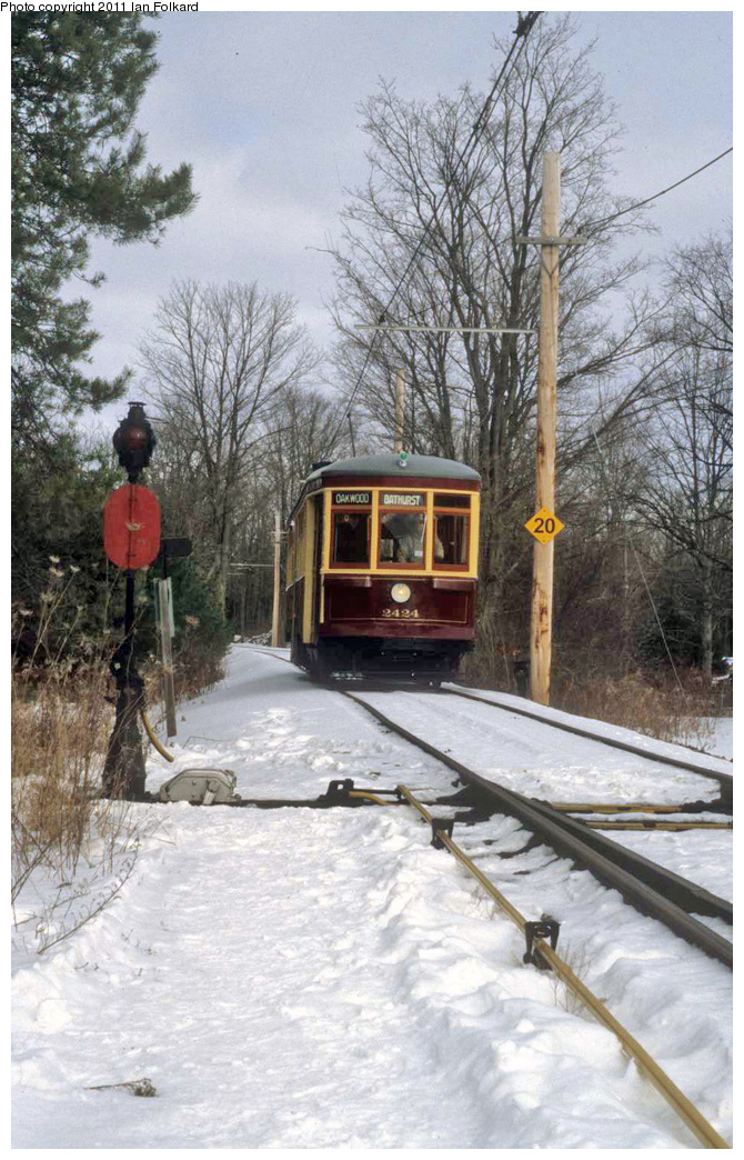 (365k, 670x1044)<br><b>Country:</b> Canada<br><b>City:</b> Toronto<br><b>System:</b> Halton County Radial Railway <br><b>Car:</b> TTC Witt 2424 <br><b>Photo by:</b> Ian Folkard<br><b>Date:</b> 2/13/2010<br><b>Notes:</b> 2424 at the west siding switch, Winterfest.<br><b>Viewed (this week/total):</b> 0 / 543