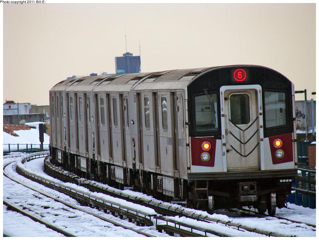 (401k, 1044x788)<br><b>Country:</b> United States<br><b>City:</b> New York<br><b>System:</b> New York City Transit<br><b>Line:</b> IRT Pelham Line<br><b>Location:</b> Morrison/Soundview Aves. <br><b>Route:</b> 6<br><b>Car:</b> R-142A (Primary Order, Kawasaki, 1999-2002)  7401 <br><b>Photo by:</b> Bill E.<br><b>Date:</b> 1/28/2011<br><b>Viewed (this week/total):</b> 4 / 1004
