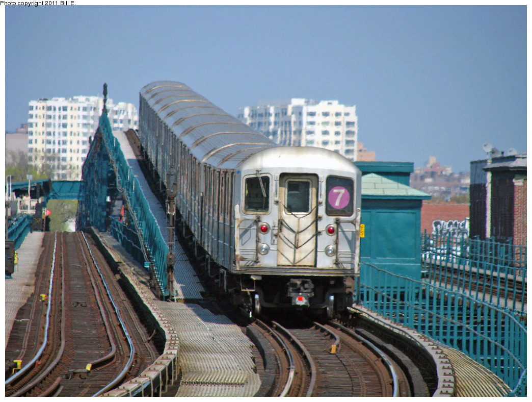 (434k, 1044x788)<br><b>Country:</b> United States<br><b>City:</b> New York<br><b>System:</b> New York City Transit<br><b>Line:</b> IRT Flushing Line<br><b>Location:</b> 103rd Street/Corona Plaza <br><b>Route:</b> 7<br><b>Car:</b> R-62A (Bombardier, 1984-1987)   <br><b>Photo by:</b> Bill E.<br><b>Date:</b> 4/25/2011<br><b>Viewed (this week/total):</b> 3 / 1275