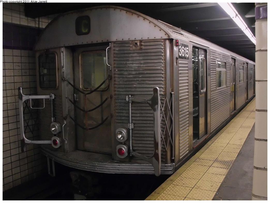(260k, 1044x788)<br><b>Country:</b> United States<br><b>City:</b> New York<br><b>System:</b> New York City Transit<br><b>Line:</b> IND Fulton Street Line<br><b>Location:</b> Euclid Avenue <br><b>Route:</b> C<br><b>Car:</b> R-32 (Budd, 1964)  3615 <br><b>Photo by:</b> Alize Jarrett<br><b>Date:</b> 6/2011<br><b>Viewed (this week/total):</b> 1 / 763