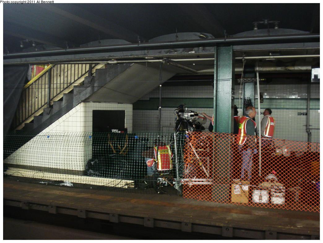(271k, 1044x788)<br><b>Country:</b> United States<br><b>City:</b> New York<br><b>System:</b> New York City Transit<br><b>Line:</b> IND Fulton Street Line<br><b>Location:</b> Hoyt-Schermerhorn Street <br><b>Photo by:</b> Al Bennett, Jr.<br><b>Date:</b> 5/19/2008<br><b>Notes:</b> Taking of Pelham 1-2-3 (remake) movie shoot.<br><b>Viewed (this week/total):</b> 0 / 1226