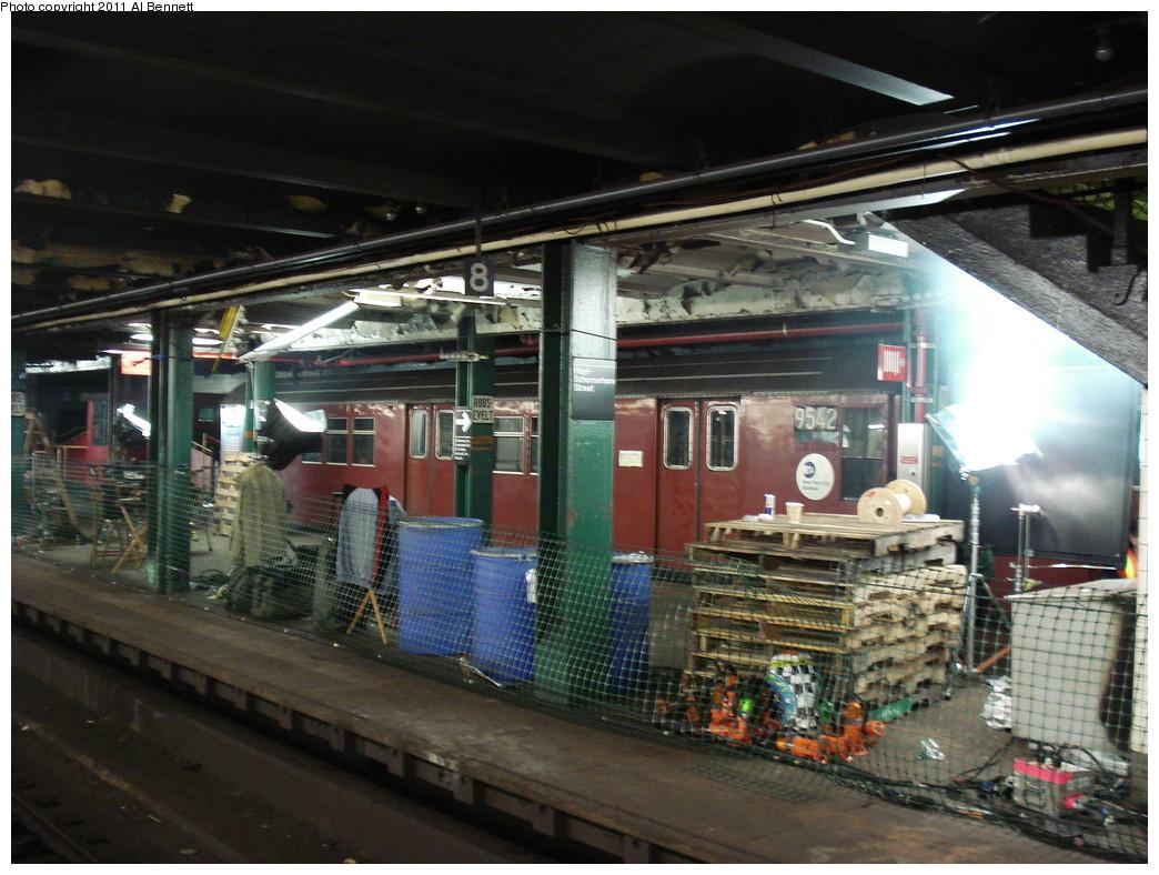 (252k, 1044x788)<br><b>Country:</b> United States<br><b>City:</b> New York<br><b>System:</b> New York City Transit<br><b>Line:</b> IND Fulton Street Line<br><b>Location:</b> Hoyt-Schermerhorn Street <br><b>Car:</b> R-36 Main Line (St. Louis, 1964) 9542 <br><b>Photo by:</b> Al Bennett, Jr.<br><b>Date:</b> 5/19/2008<br><b>Notes:</b> Taking of Pelham 1-2-3 (remake) movie shoot.<br><b>Viewed (this week/total):</b> 6 / 1841