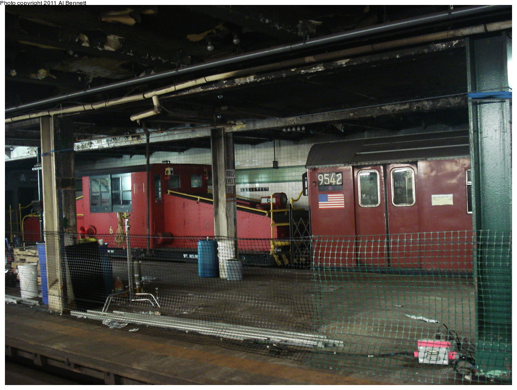 (260k, 1044x788)<br><b>Country:</b> United States<br><b>City:</b> New York<br><b>System:</b> New York City Transit<br><b>Line:</b> IND Fulton Street Line<br><b>Location:</b> Hoyt-Schermerhorn Street <br><b>Car:</b> SBK Steeplecab 6 <br><b>Photo by:</b> Al Bennett, Jr.<br><b>Date:</b> 5/19/2008<br><b>Notes:</b> Taking of Pelham 1-2-3 (remake) movie shoot. Note fake Roosevelt signage.<br><b>Viewed (this week/total):</b> 0 / 1800