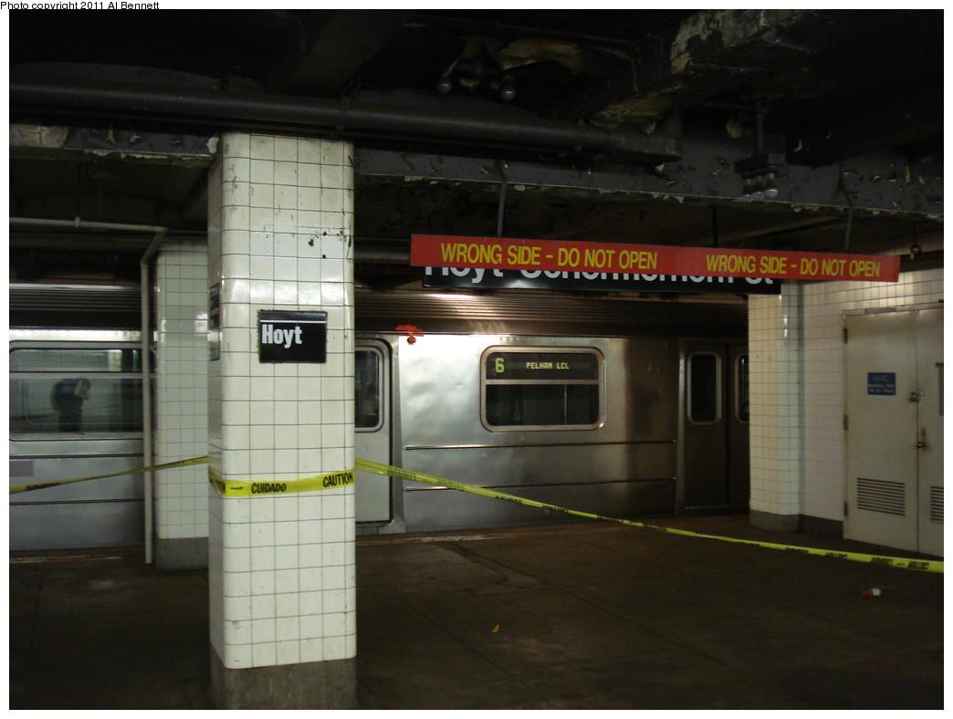 (182k, 1044x788)<br><b>Country:</b> United States<br><b>City:</b> New York<br><b>System:</b> New York City Transit<br><b>Line:</b> IND Fulton Street Line<br><b>Location:</b> Hoyt-Schermerhorn Street <br><b>Photo by:</b> Al Bennett, Jr.<br><b>Date:</b> 5/19/2008<br><b>Notes:</b> Mocked up car (R-62 masquerading as R-142) for the film shoot.<br><b>Viewed (this week/total):</b> 1 / 1545