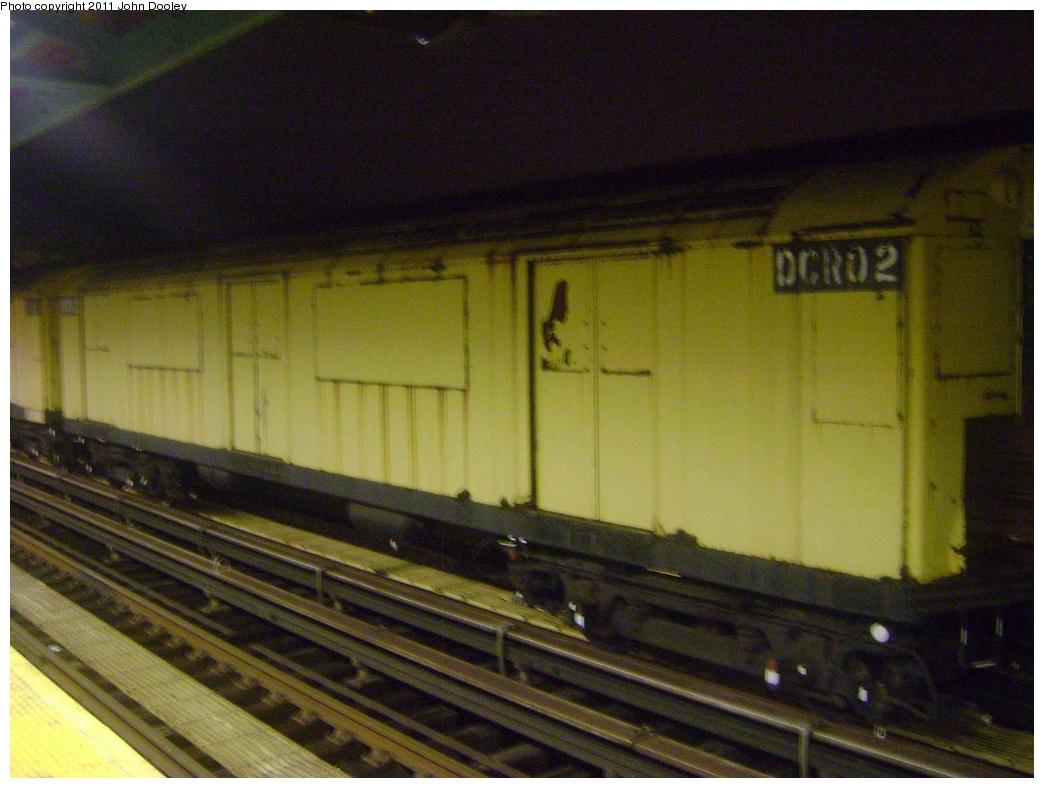 (289k, 1044x788)<br><b>Country:</b> United States<br><b>City:</b> New York<br><b>System:</b> New York City Transit<br><b>Line:</b> BMT Canarsie Line<br><b>Location:</b> Livonia Avenue <br><b>Route:</b> Work Service<br><b>Car:</b> R-123 Continuous Welded Rail Handler (R17/R21/R22 Rebuilds) DCR02 <br><b>Photo by:</b> John Dooley<br><b>Date:</b> 4/12/2011<br><b>Viewed (this week/total):</b> 0 / 1174