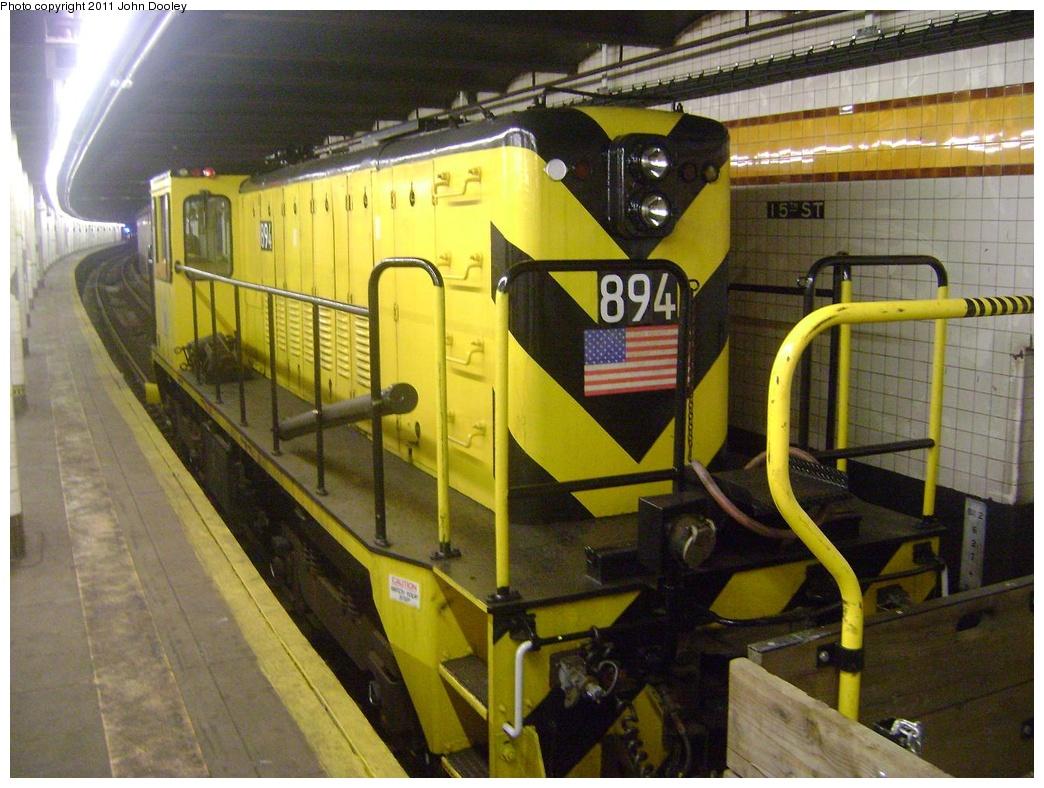 (331k, 1044x788)<br><b>Country:</b> United States<br><b>City:</b> New York<br><b>System:</b> New York City Transit<br><b>Line:</b> IND Crosstown Line<br><b>Location:</b> 15th Street/Prospect Park <br><b>Route:</b> Work Service<br><b>Car:</b> R-77 Locomotive  894 <br><b>Photo by:</b> John Dooley<br><b>Date:</b> 5/5/2011<br><b>Viewed (this week/total):</b> 0 / 784