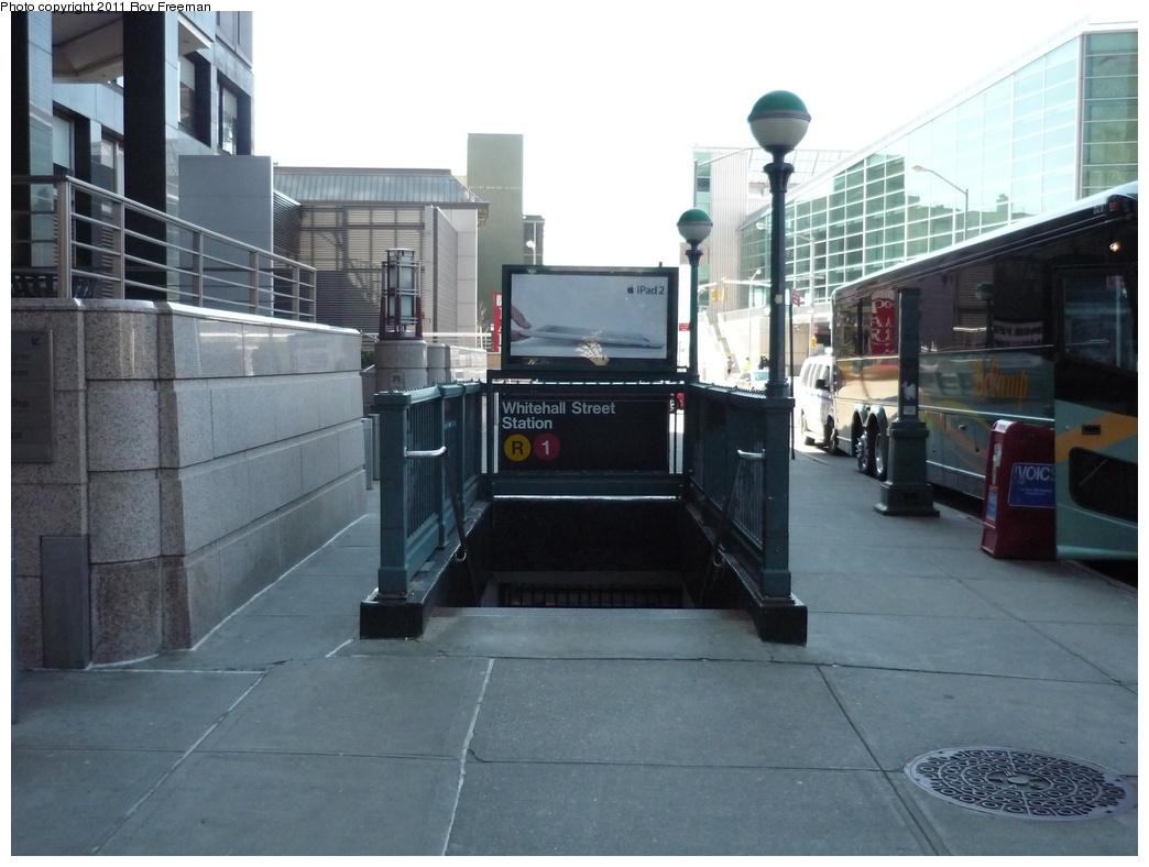 (271k, 1044x788)<br><b>Country:</b> United States<br><b>City:</b> New York<br><b>System:</b> New York City Transit<br><b>Line:</b> BMT Broadway Line<br><b>Location:</b> Whitehall Street <br><b>Photo by:</b> Roy Freeman<br><b>Date:</b> 4/3/2011<br><b>Notes:</b> Station entrance.<br><b>Viewed (this week/total):</b> 3 / 1270