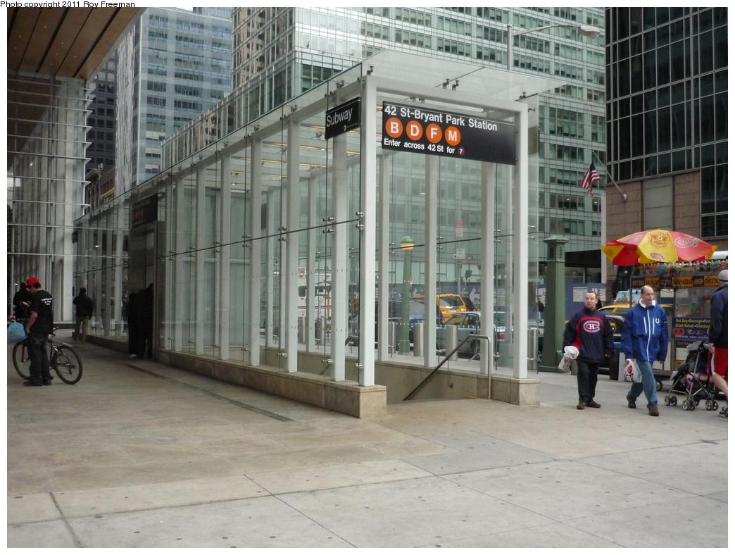 (335k, 1044x788)<br><b>Country:</b> United States<br><b>City:</b> New York<br><b>System:</b> New York City Transit<br><b>Line:</b> IND 6th Avenue Line<br><b>Location:</b> 42nd Street/Bryant Park <br><b>Photo by:</b> Roy Freeman<br><b>Date:</b> 4/3/2011<br><b>Notes:</b> Station entrance.<br><b>Viewed (this week/total):</b> 2 / 1078
