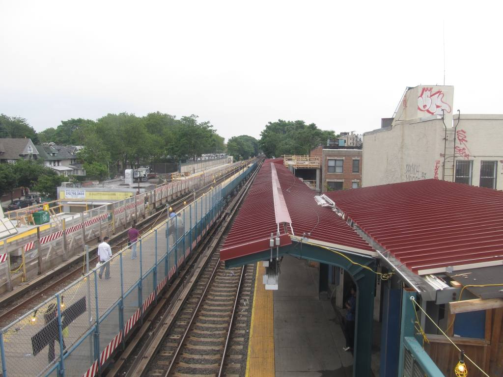 (114k, 1024x768)<br><b>Country:</b> United States<br><b>City:</b> New York<br><b>System:</b> New York City Transit<br><b>Line:</b> BMT Brighton Line<br><b>Location:</b> Avenue J <br><b>Photo by:</b> Robbie Rosenfeld<br><b>Date:</b> 6/12/2011<br><b>Notes:</b> Station reconstruction.<br><b>Viewed (this week/total):</b> 0 / 966