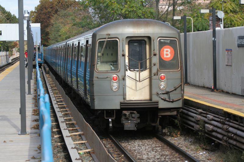 (106k, 800x533)<br><b>Country:</b> United States<br><b>City:</b> New York<br><b>System:</b> New York City Transit<br><b>Line:</b> BMT Brighton Line<br><b>Location:</b> Avenue J <br><b>Route:</b> B<br><b>Car:</b> R-68A (Kawasaki, 1988-1989)  5200 <br><b>Photo by:</b> Neil Feldman<br><b>Date:</b> 10/30/2009<br><b>Viewed (this week/total):</b> 3 / 947
