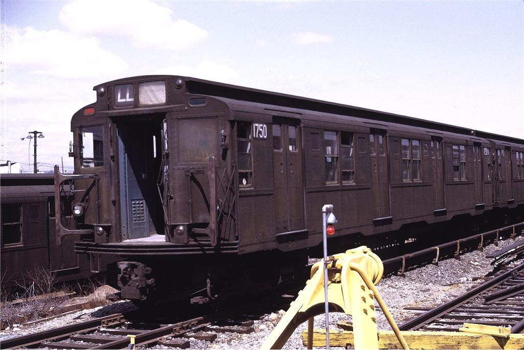 (193k, 1024x683)<br><b>Country:</b> United States<br><b>City:</b> New York<br><b>System:</b> New York City Transit<br><b>Location:</b> Rockaway Parkway (Canarsie) Yard<br><b>Car:</b> R-9 (Pressed Steel, 1940)  1750 <br><b>Photo by:</b> Joe Testagrose<br><b>Date:</b> 4/10/1971<br><b>Viewed (this week/total):</b> 2 / 951