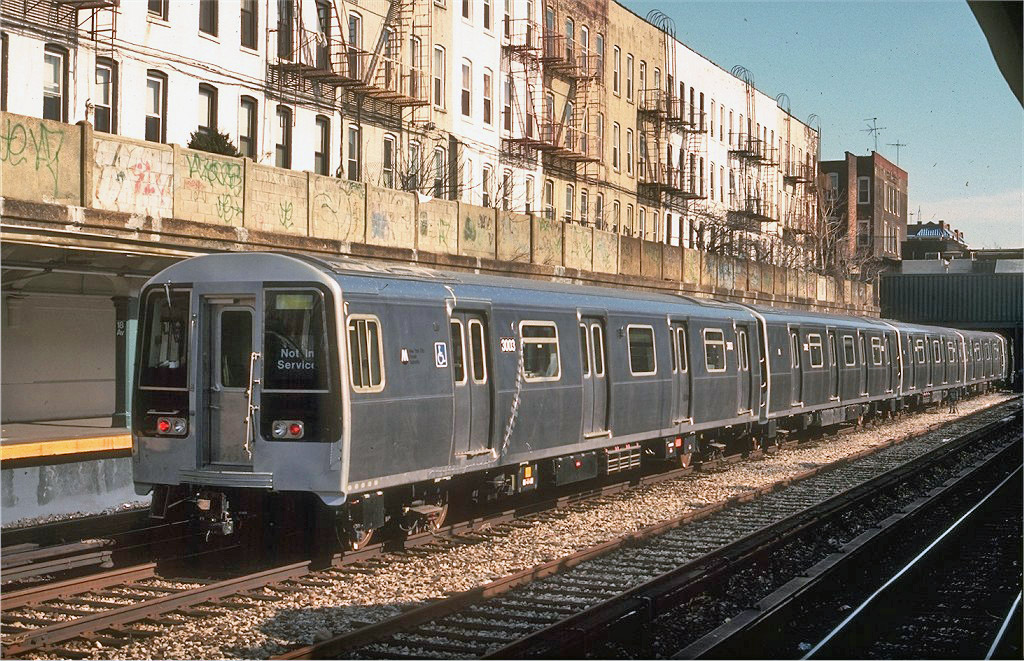 (311k, 1024x661)<br><b>Country:</b> United States<br><b>City:</b> New York<br><b>System:</b> New York City Transit<br><b>Line:</b> BMT Sea Beach Line<br><b>Location:</b> 18th Avenue <br><b>Car:</b> R-110B (Bombardier, 1992) 3003 <br><b>Photo by:</b> Doug Grotjahn<br><b>Collection of:</b> Joe Testagrose<br><b>Date:</b> 3/9/1993<br><b>Viewed (this week/total):</b> 1 / 2540