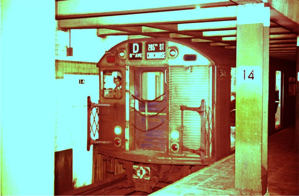 (156k, 1024x671)<br><b>Country:</b> United States<br><b>City:</b> New York<br><b>System:</b> New York City Transit<br><b>Line:</b> IND 6th Avenue Line<br><b>Location:</b> 14th Street <br><b>Route:</b> D<br><b>Car:</b> R-32 (Budd, 1964)  3416 <br><b>Photo by:</b> Steve Zabel<br><b>Collection of:</b> Joe Testagrose<br><b>Viewed (this week/total):</b> 0 / 1133