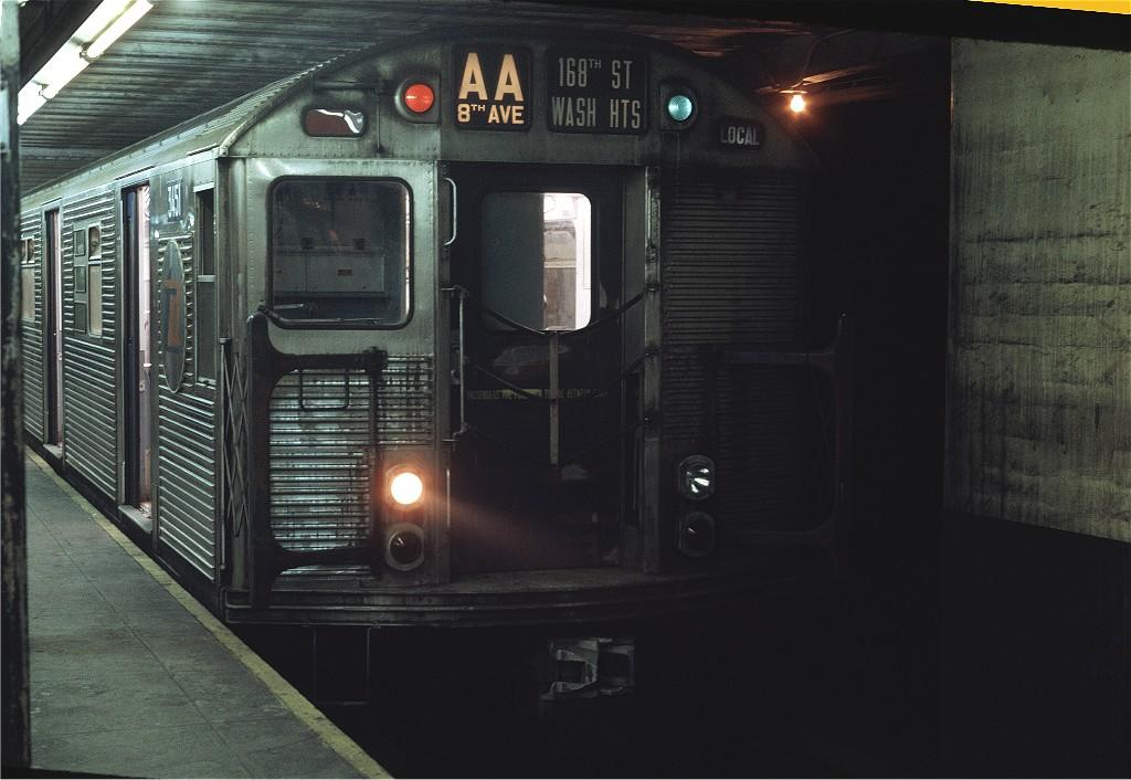 (173k, 1024x706)<br><b>Country:</b> United States<br><b>City:</b> New York<br><b>System:</b> New York City Transit<br><b>Line:</b> IND 8th Avenue Line<br><b>Location:</b> Chambers Street/World Trade Center <br><b>Route:</b> AA<br><b>Car:</b> R-32 (Budd, 1964)  3451 <br><b>Photo by:</b> Joe Testagrose<br><b>Date:</b> 7/31/1969<br><b>Viewed (this week/total):</b> 2 / 1092