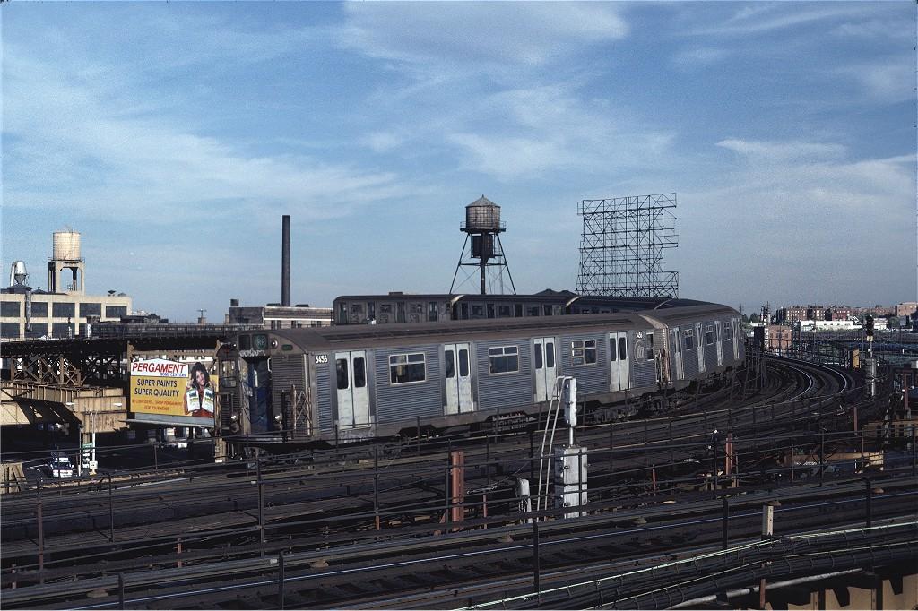 (235k, 1024x682)<br><b>Country:</b> United States<br><b>City:</b> New York<br><b>System:</b> New York City Transit<br><b>Line:</b> BMT Astoria Line<br><b>Location:</b> Queensborough Plaza <br><b>Route:</b> RR<br><b>Car:</b> R-32 (Budd, 1964)  3456 <br><b>Photo by:</b> Steve Zabel<br><b>Collection of:</b> Joe Testagrose<br><b>Date:</b> 10/4/1981<br><b>Viewed (this week/total):</b> 0 / 1658