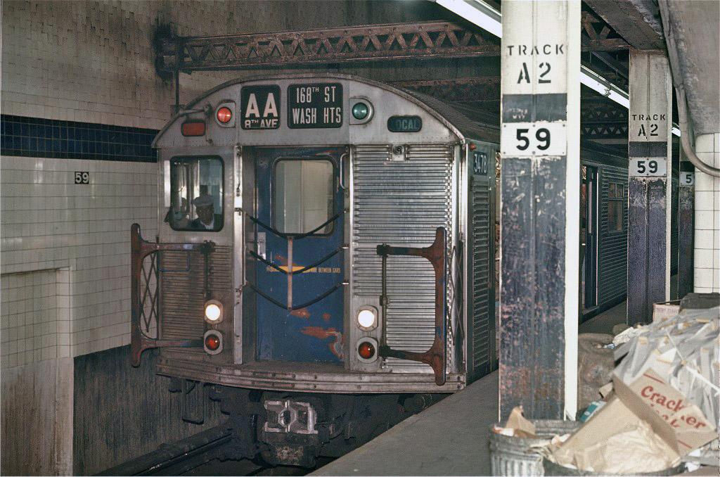 (251k, 1024x678)<br><b>Country:</b> United States<br><b>City:</b> New York<br><b>System:</b> New York City Transit<br><b>Line:</b> IND 8th Avenue Line<br><b>Location:</b> 59th Street/Columbus Circle <br><b>Route:</b> AA<br><b>Car:</b> R-32 (Budd, 1964)  3478 <br><b>Photo by:</b> Joe Testagrose<br><b>Date:</b> 5/6/1970<br><b>Viewed (this week/total):</b> 2 / 1266