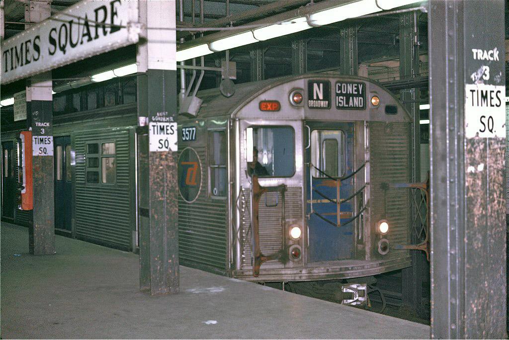 (250k, 1024x684)<br><b>Country:</b> United States<br><b>City:</b> New York<br><b>System:</b> New York City Transit<br><b>Line:</b> BMT Broadway Line<br><b>Location:</b> Times Square/42nd Street <br><b>Route:</b> N<br><b>Car:</b> R-32 (Budd, 1964)  3577 <br><b>Photo by:</b> Joe Testagrose<br><b>Date:</b> 4/21/1970<br><b>Viewed (this week/total):</b> 5 / 1840
