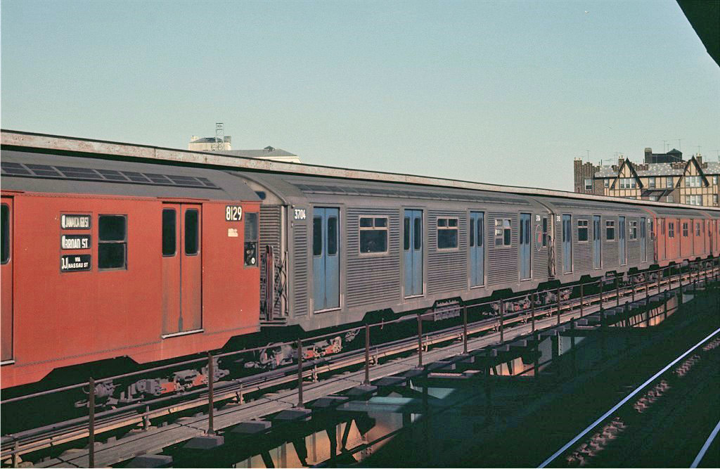 (196k, 1024x667)<br><b>Country:</b> United States<br><b>City:</b> New York<br><b>System:</b> New York City Transit<br><b>Line:</b> BMT Nassau Street/Jamaica Line<br><b>Location:</b> Queens Boulevard (Demolished) <br><b>Route:</b> QJ<br><b>Car:</b> R-32 (Budd, 1964)  3704 <br><b>Photo by:</b> Joe Testagrose<br><b>Date:</b> 2/22/1970<br><b>Viewed (this week/total):</b> 1 / 2068